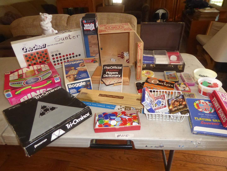 Lot # 115 - Bingo, Dominos, Jenga, Cards, Checkers & Jacks (main image)