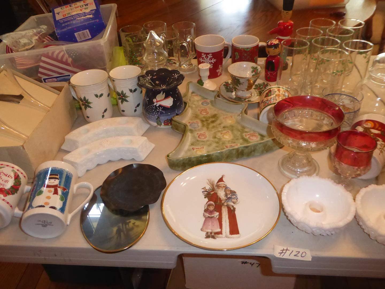 Lot # 120 - Christmas Mugs, Plate, Tumblers, American Flags & More (main image)