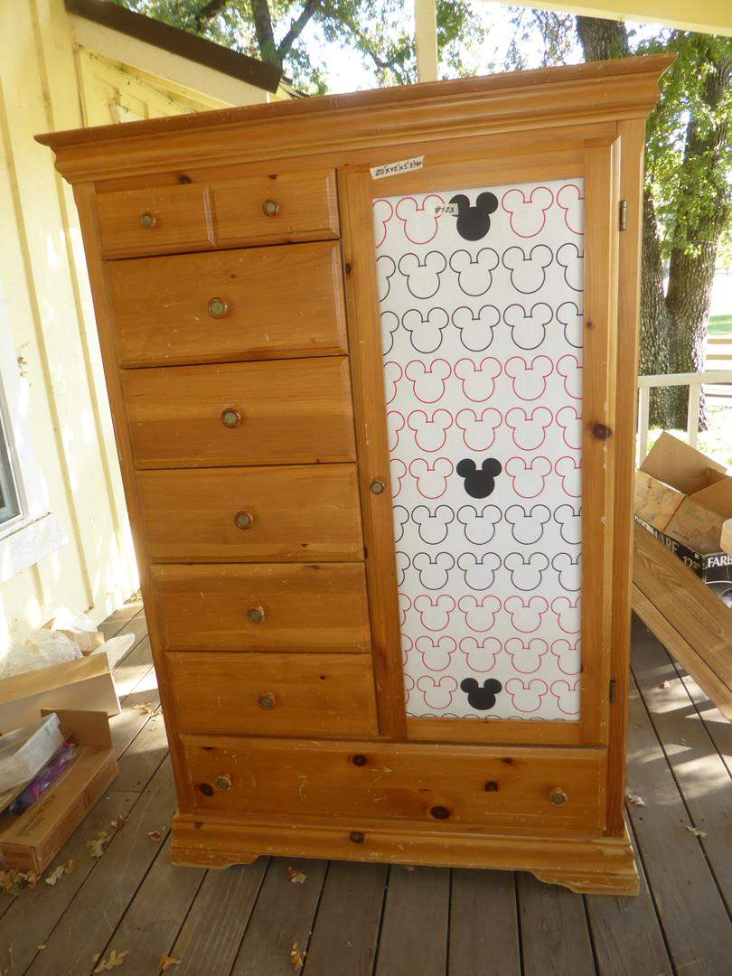 Lot # 123 - Wood Wardrobe Chest w/Mickey Mouse Fabric Covered Door (main image)