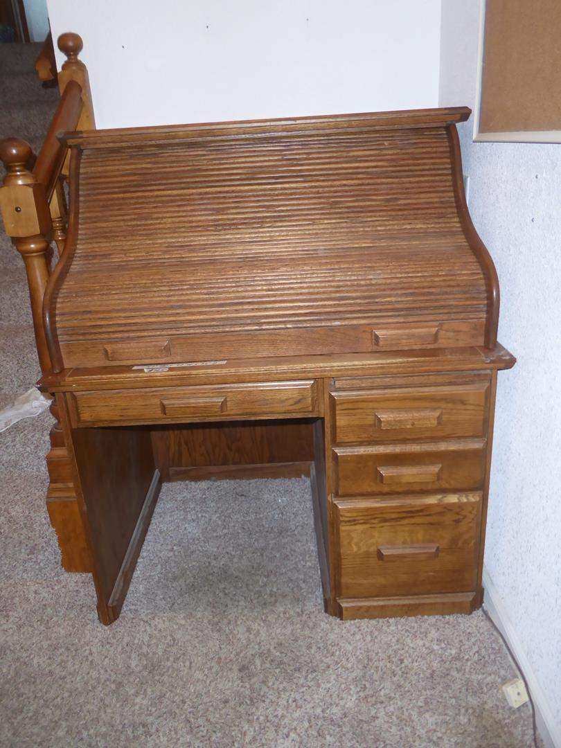 Lot # 125 - Solid Wood Two Piece Roll Top Desk (main image)