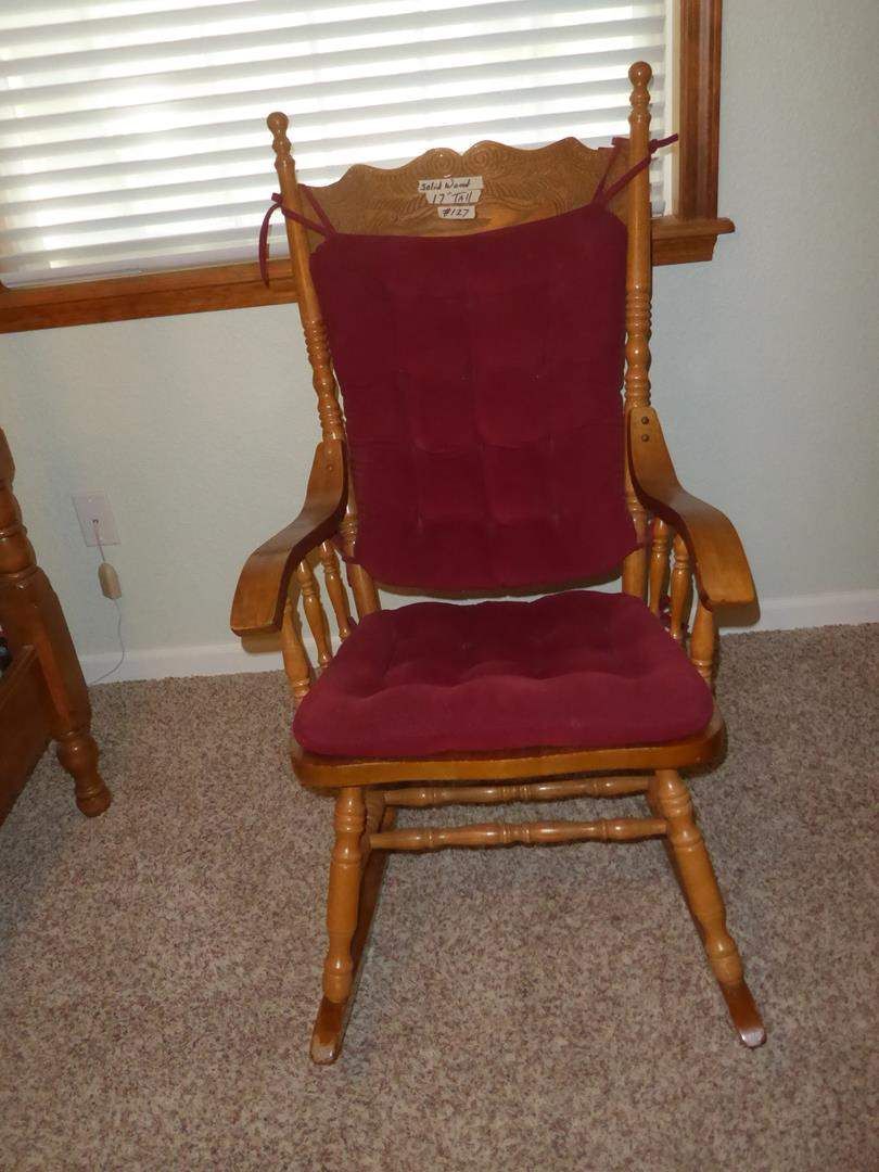Lot # 127 - Vintage Solid Wood Rocking Chair w/Cushions (main image)