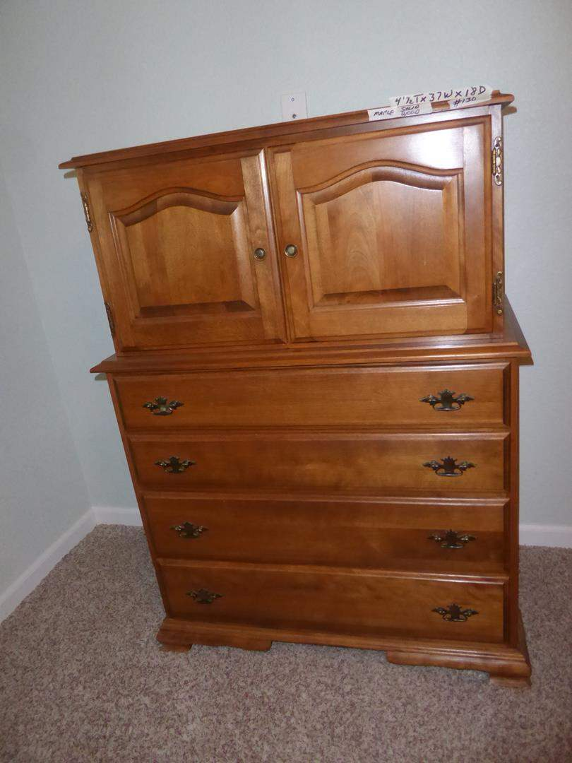 Lot # 130 - Vintage Solid Maple Wood High Boy Chest (dovetailed drawers) (main image)