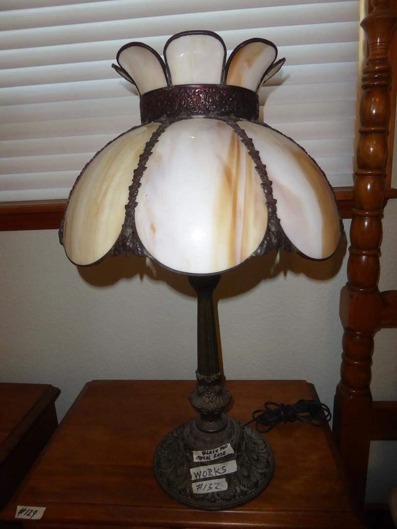 Lot # 132 - Vintage Slag Glass Shade Metal Base Table Lamp (main image)