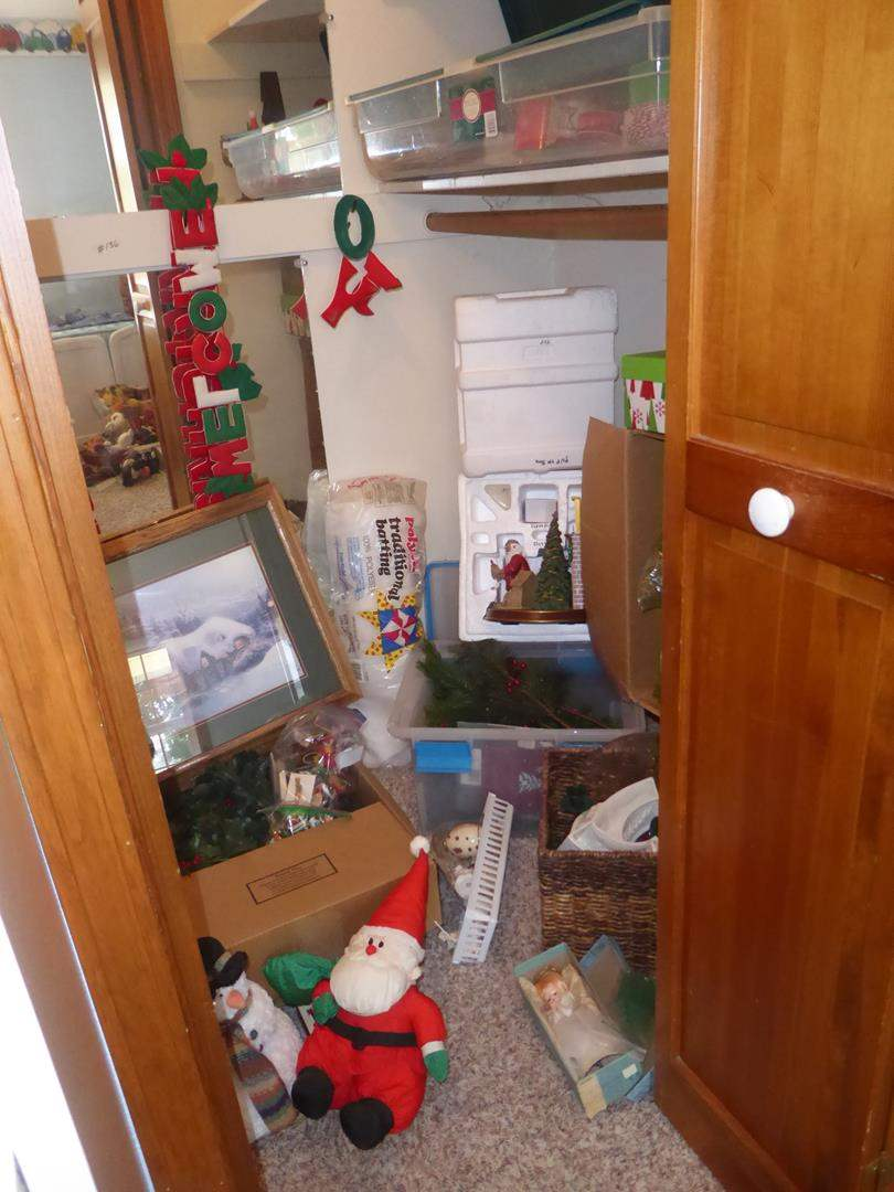 Lot # 136 - Closet Full of Christmas Decor & Wrapping Paper (main image)
