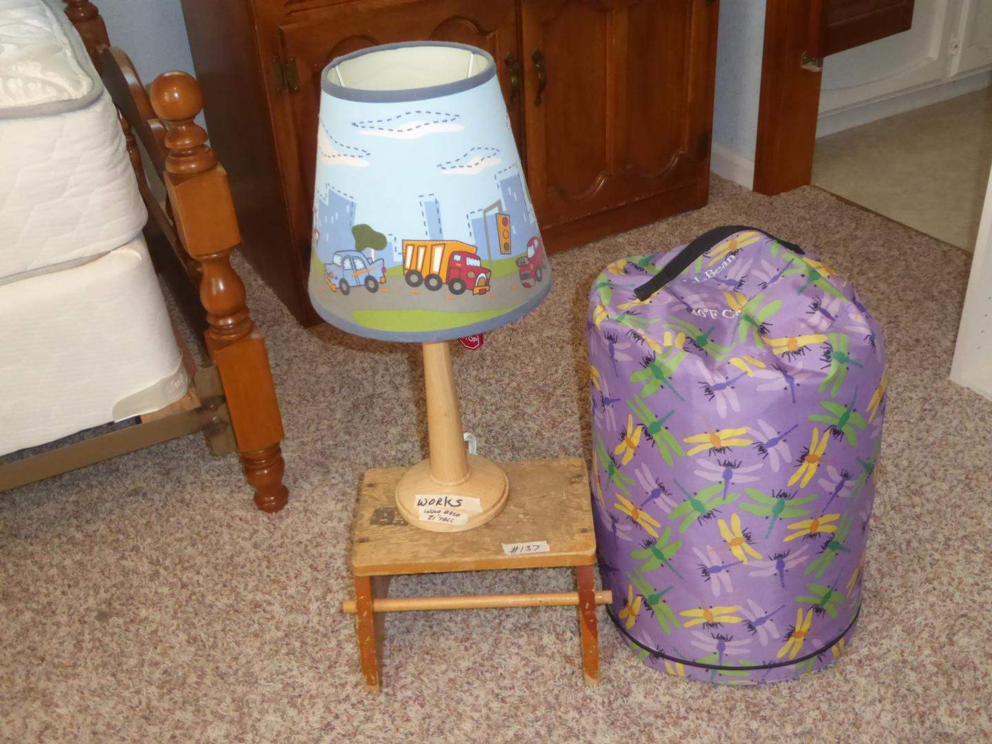 Lot # 137 - Children's Table Lamp, Old Wooden Bench & L.L. Bean Camp Bag (main image)
