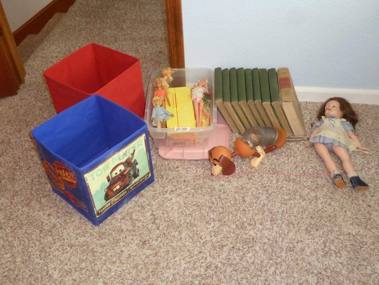 Lot # 138 - Vintage Slinky Dog, Barbie Dolls & Antique Boys and Girls Bookshelf Books (1920) (main image)
