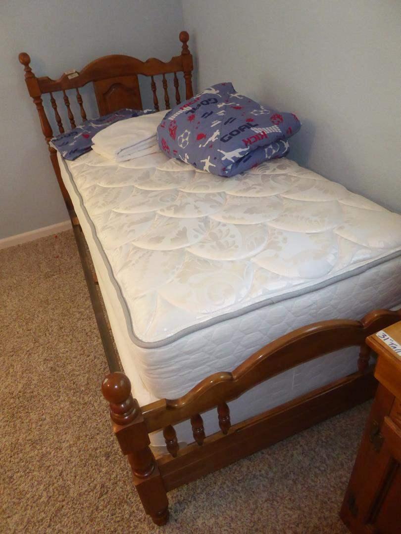 Lot # 140 - Twin Size Bed Frame w/Nice Mattress Set & Bedding (main image)