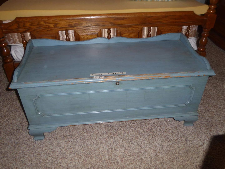 Lot # 143 - Vintage Painted Blue Lane Cedar Chest (main image)