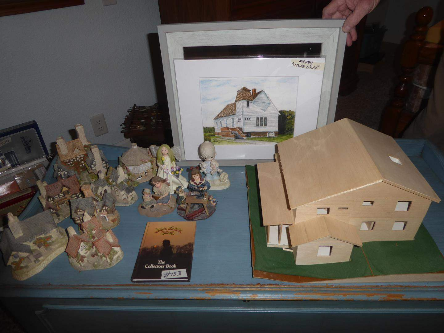 """Lot # 153 - David Winter Cottages, Figurines, Wooden Model House & Limited Edition Giclee Print 3/50 """"First Christian Church"""" (main image)"""