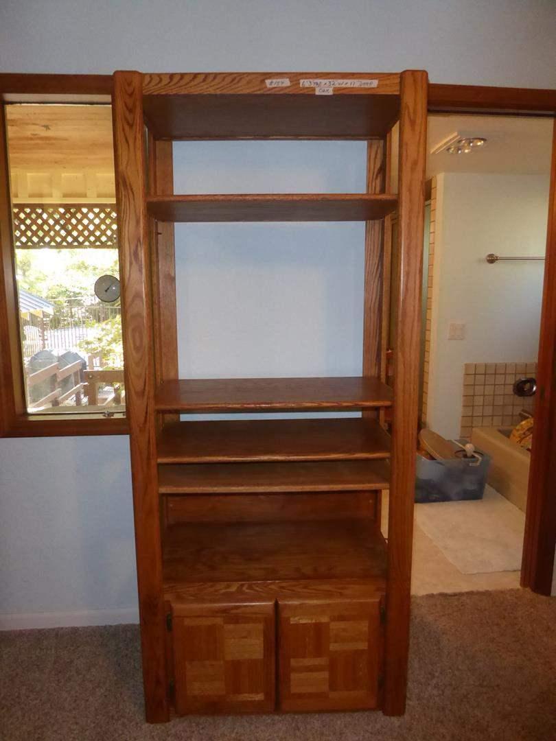 Lot # 154 - Oak Shelf w/Cabinet  (main image)