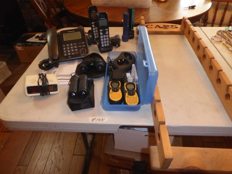 Lot # 155 - Panasonic Phone System, Binoculars, Alarm Clock, Walkie Talkies & Cap Rack (main image)