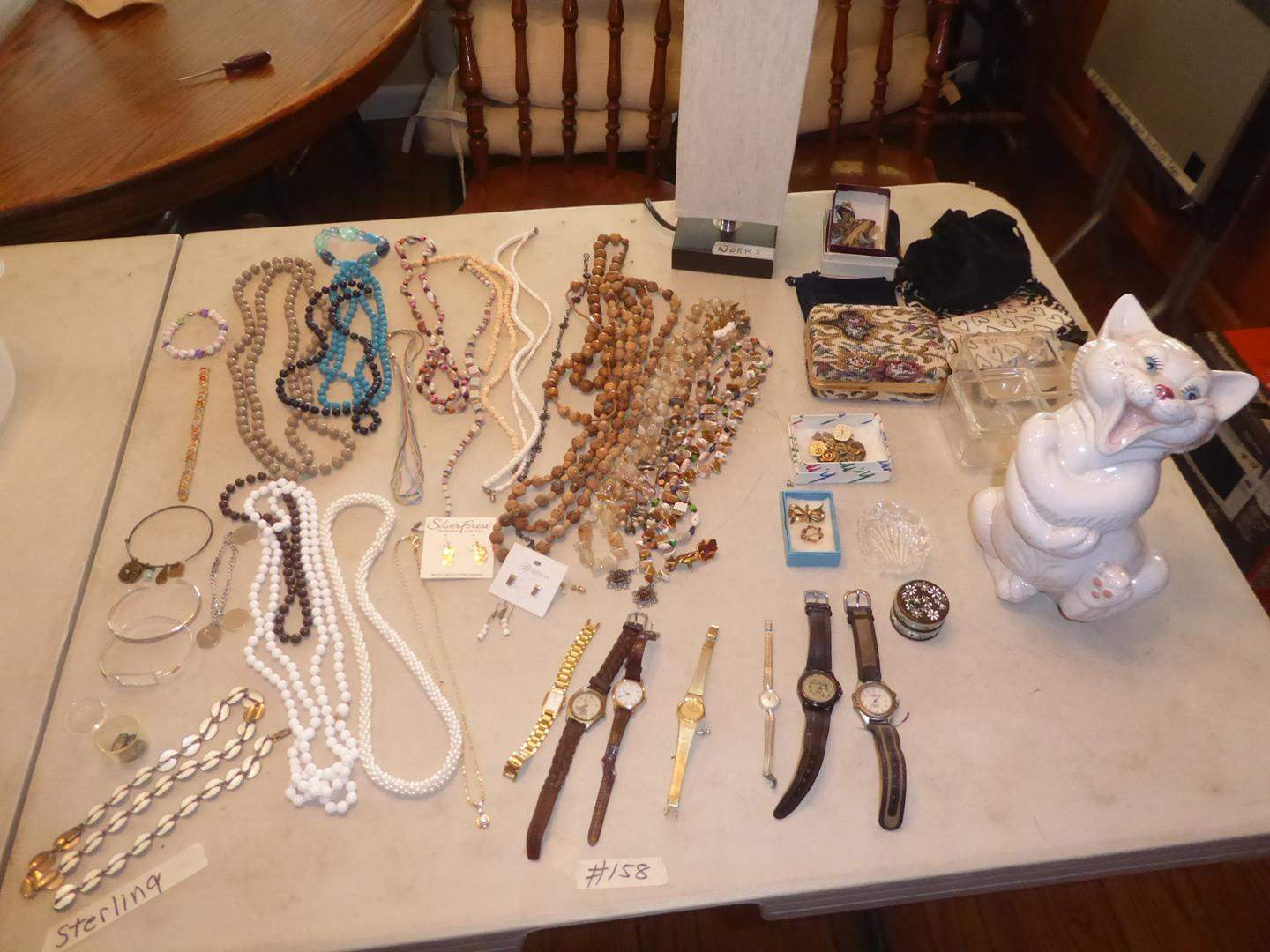 Lot # 158 - Wristwatches & Costume Jewelry - Some Sterling (main image)
