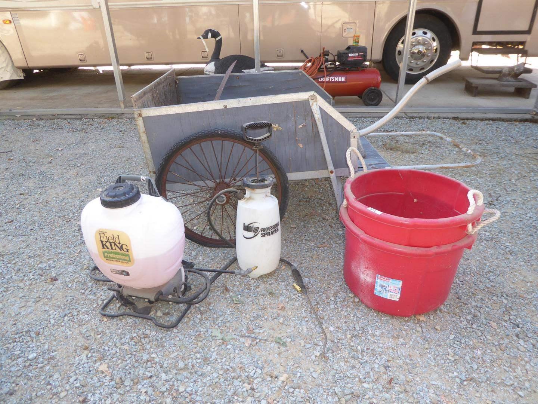 Lot # 312 - Garden Cart & Sprayers (main image)