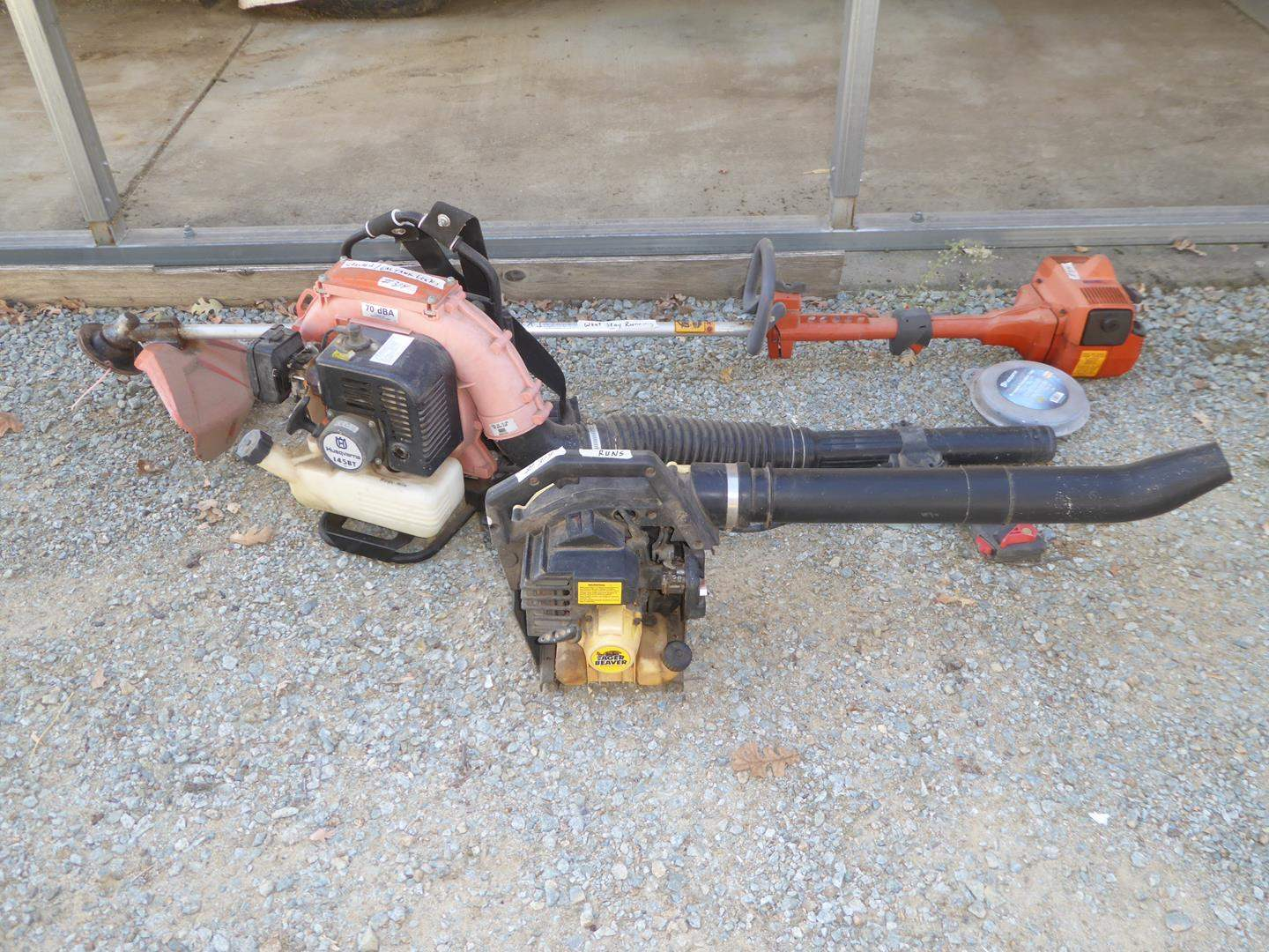 Lot # 314 - Gas Power Blower, Backpack Blower & Weed Trimmer w/Hedge Trimmer Attachment  (main image)