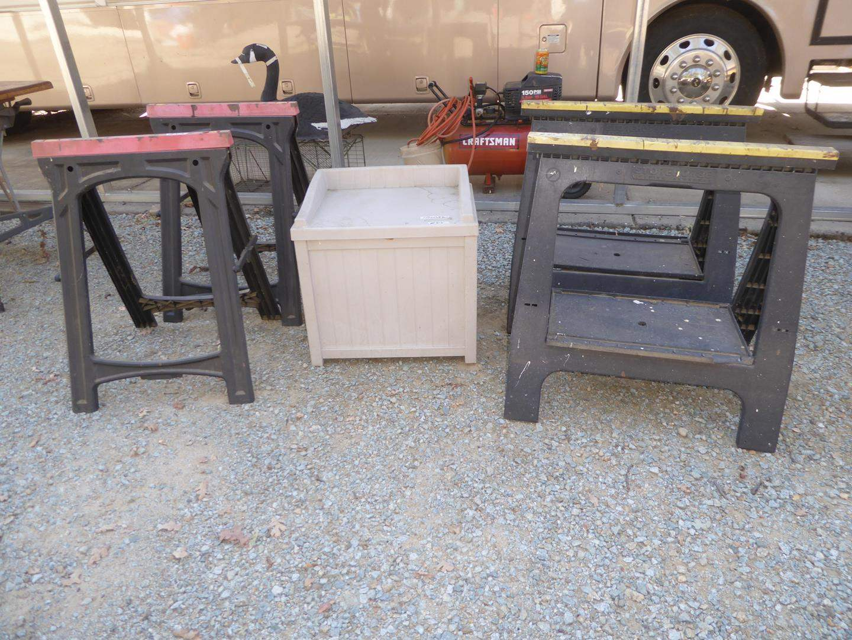 Lot # 315 - Two Pair Saw Horses & Suncast Storage Bench (main image)