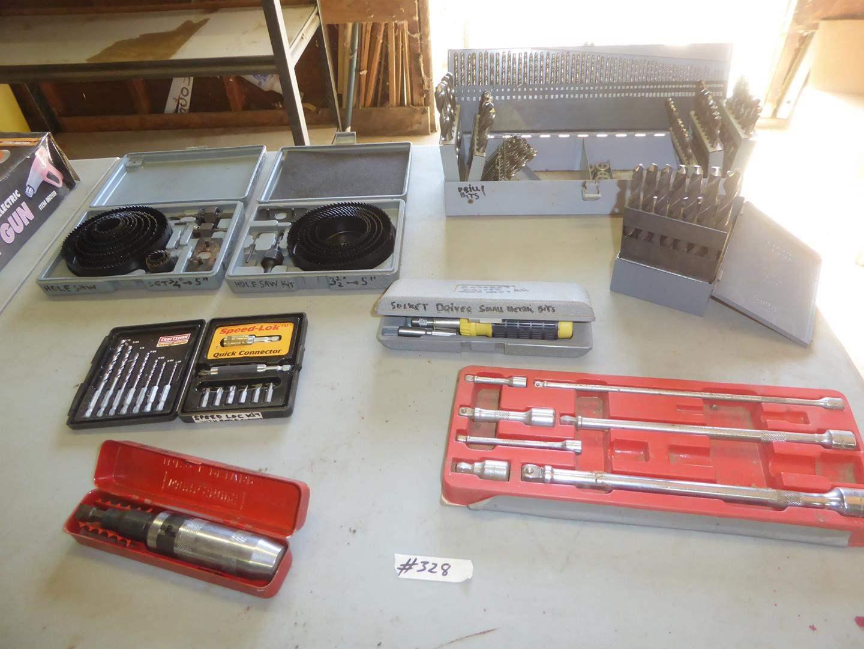 Lot # 328 - Hole Saw, Impact Driver, Drill Bits & Socket Sets (main image)