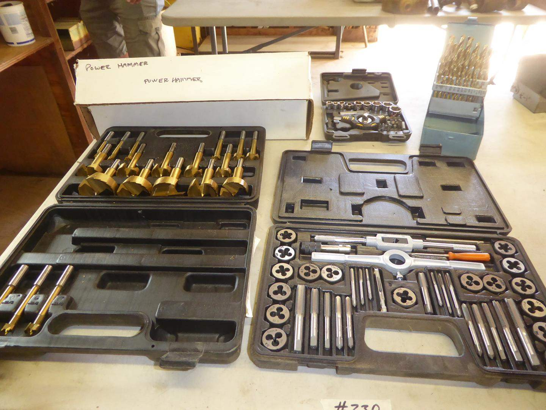 Lot # 330 - Forstner Bits, Tap & Die Set, Sockets, Drill Bits & Power Hammer (main image)