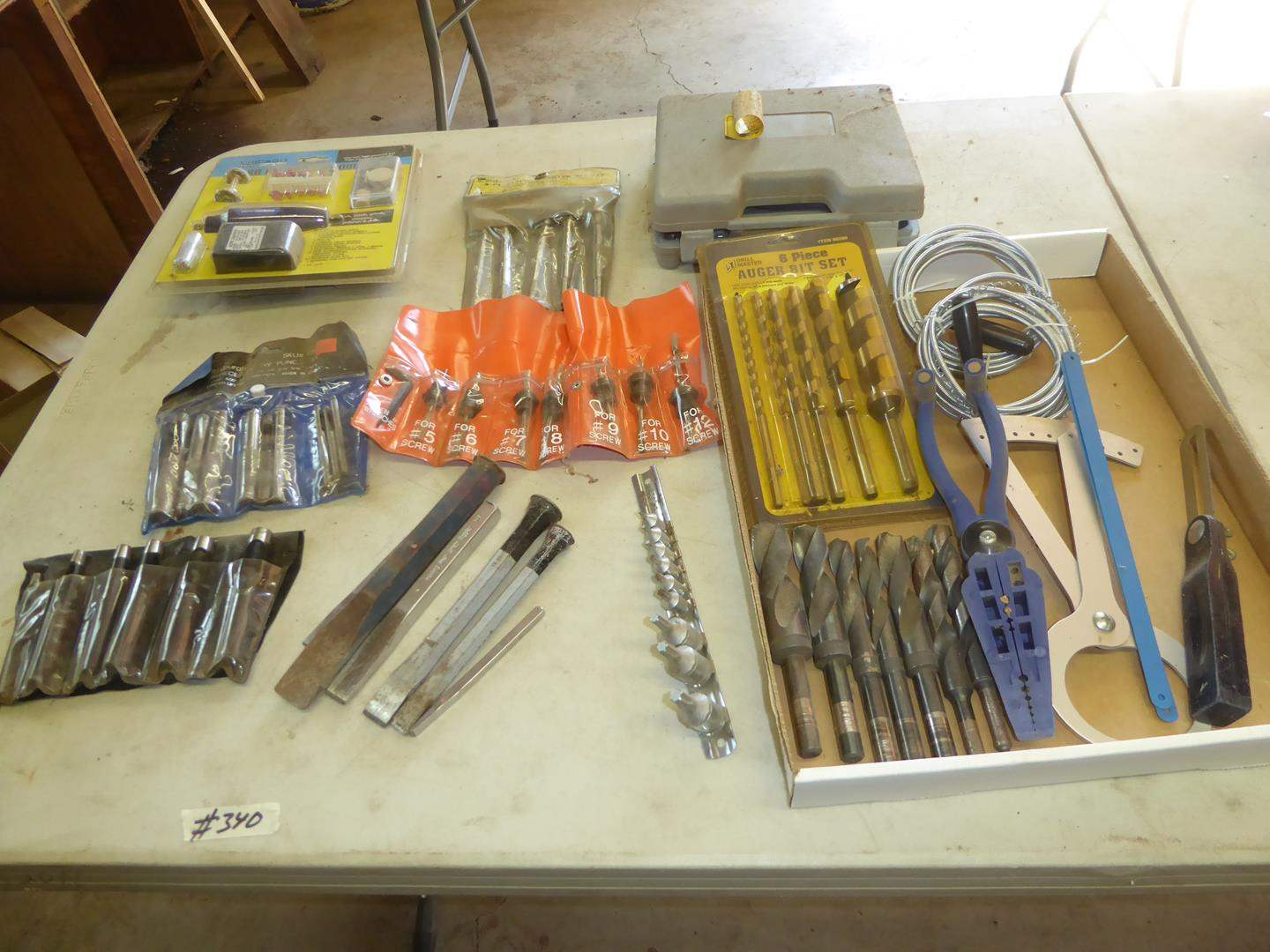 Lot # 340 - Hollow Punches, Chisels, Rotary Tools, Drill & Drill Bits (main image)