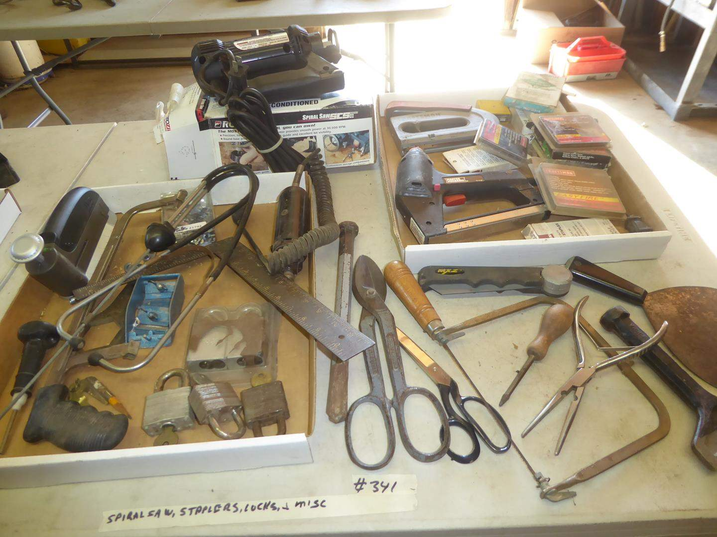 Lot # 341 - Rotozip Spiral Saw, Staplers, Padlocks & Misc. (main image)