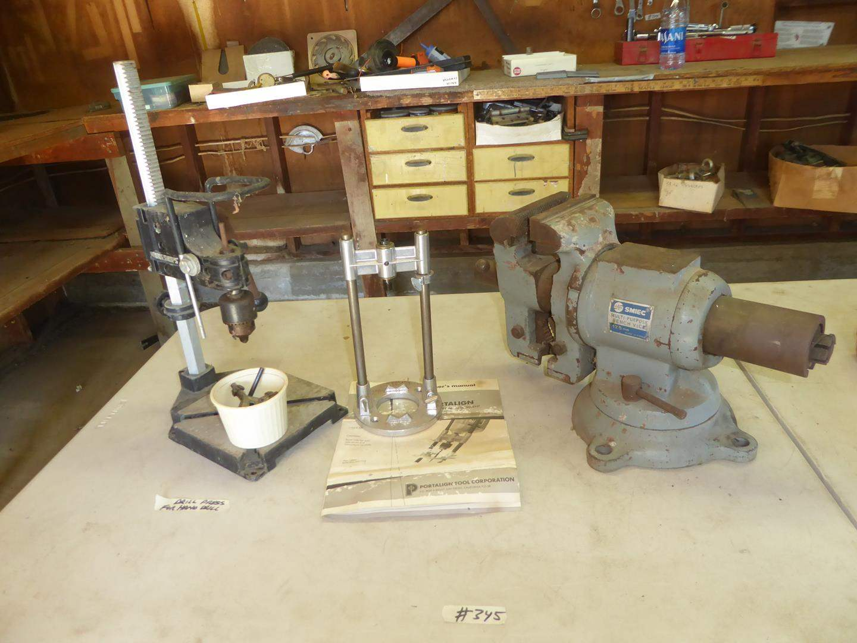 Lot # 345 - Multi Purpose Bench Vise, Drill Press For Hand Drill & Drill Attachment (main image)