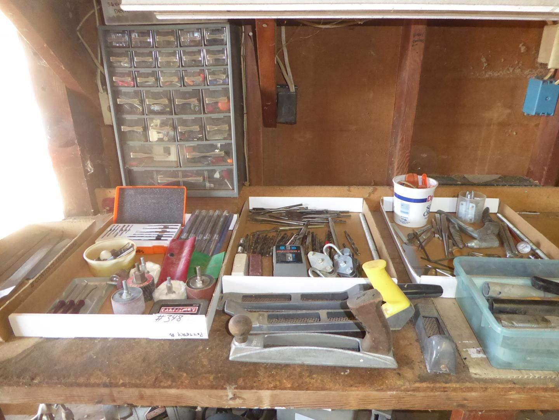 Lot # 348 - Misc. Hardware, Files, Drill Bits, Pin Punch Set & More (main image)
