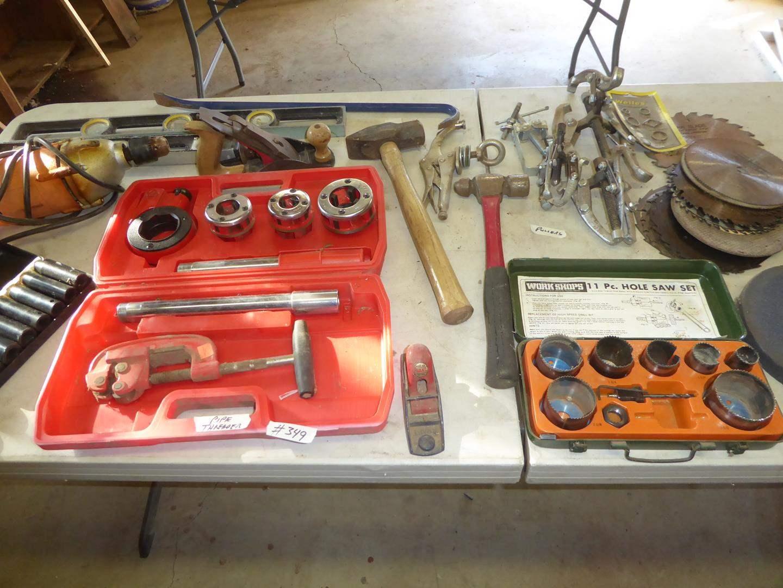 Lot # 349 - Socket Set, Pipe Threader, Drill, Levels, Planer, Pullers, Saw Blades & Hole Saw Set (main image)