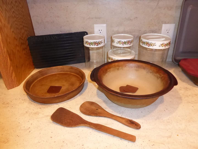 Lot # 6 - Pampered Chef Stoneware Baking Bowl & Pan, Miracle Thaw & Vintage Canister Jars  (main image)