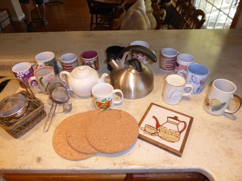 Lot # 10 - Tea & Coffee Mugs, Strainers & Kettle  (main image)