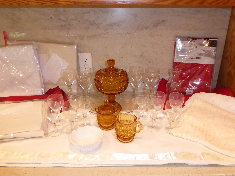 Lot # 16 - Table Linens, Stemware & Vintage Amber Glass  (main image)