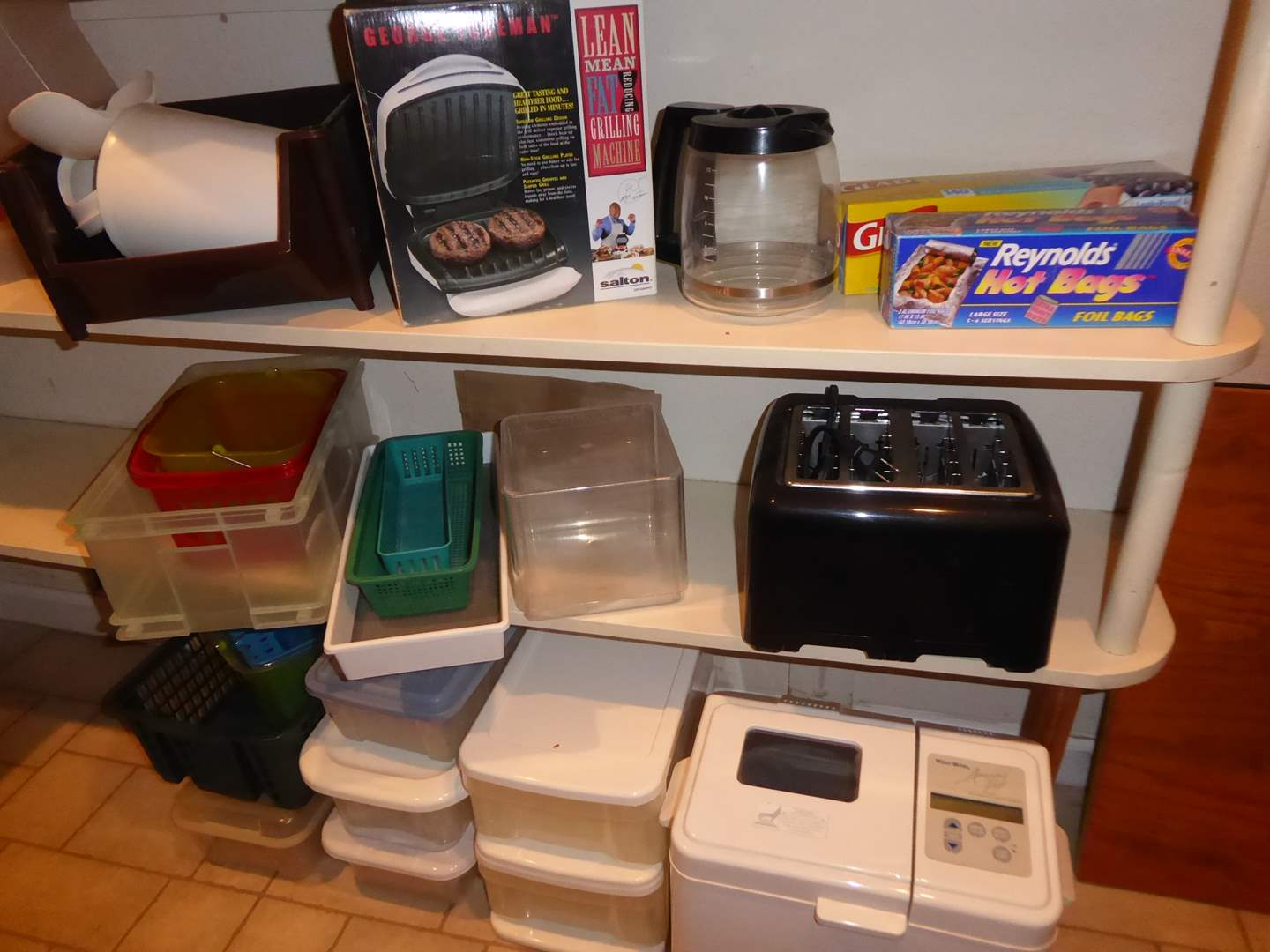 Lot # 21 - George Forman Grilling Machine, Toaster, Bread-maker & Storage Containers  (main image)