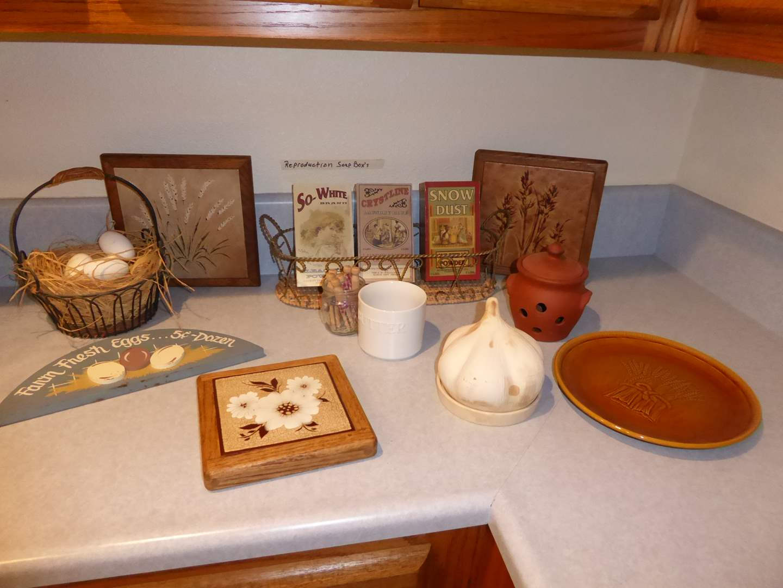 Lot # 26 - Farmhouse Decor - Franciscan Gladding McBean Wheat Plate, Wooden Eggs & More  (main image)