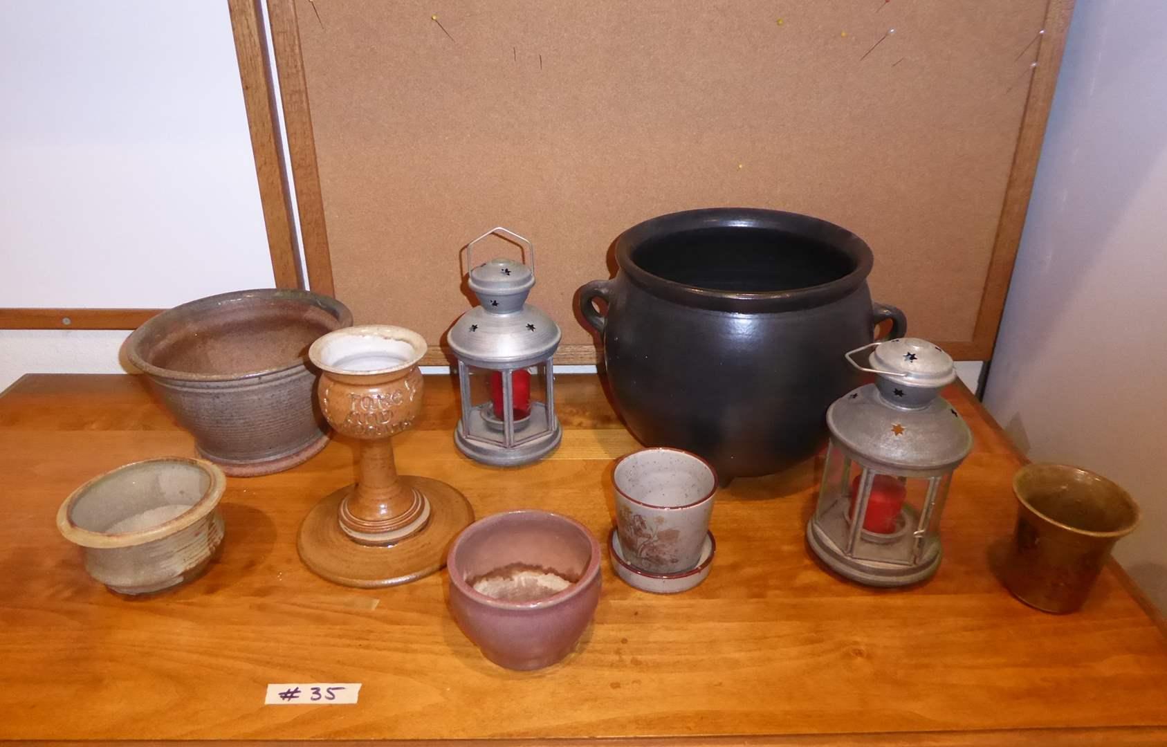 Lot # 35 - Cute Caldron Planter, Pottery Planters & Lanterns  (main image)