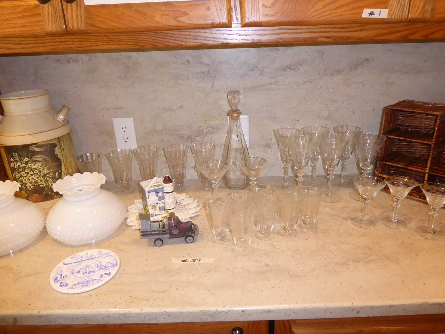 Lot # 39 - Cut Glass Stemware (Martini, Wine, Juice, Sherry) Lampshades & Collectibles   (main image)
