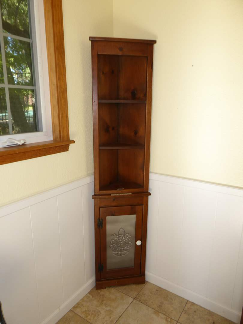 Lot # 41 -  Farmhouse Corner Cabinet W/Punched Tin  (main image)