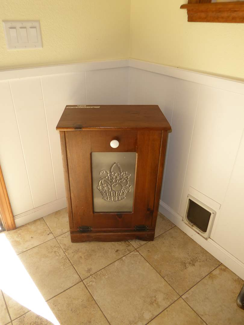 Lot # 42 -  Farmhouse Laundry Cabinet W/Punched Tin  (main image)