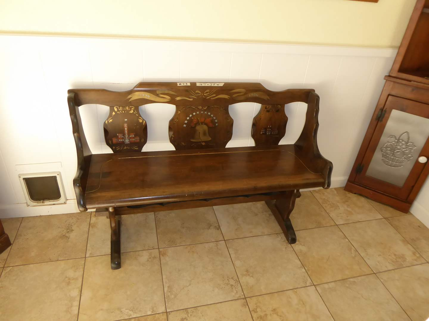 "Lot # 43 - Limited Edition ""Standard Of Gardner Inc"" Liberty (Maple Wood) Pew Bench  (main image)"