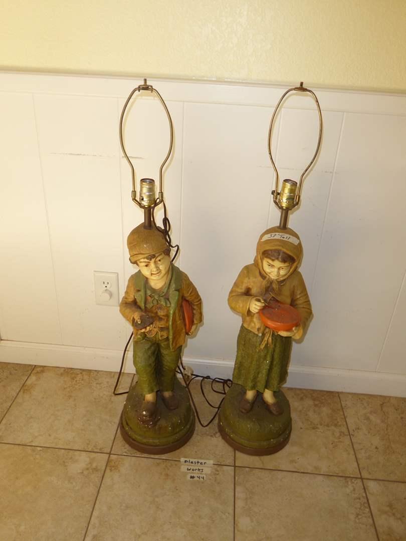 Lot # 44 - Peasant Boy & Girl Plaster Lamps  (main image)