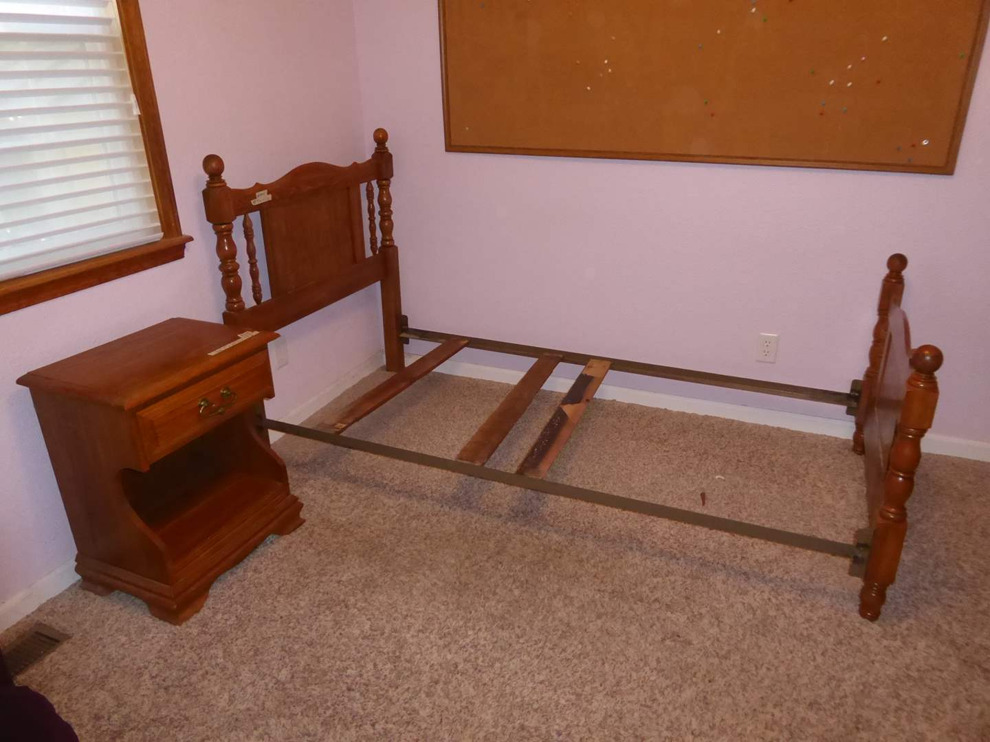 """Lot # 204 - """"Cal Shops"""" Nightstand & Twin Bed Frame  (main image)"""