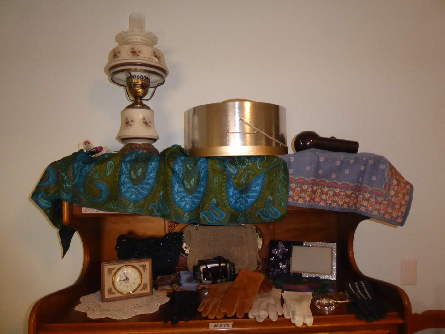 Lot # 212 - Ladies Gloves, Lamp, Seth Thomas Clock & Other Collectibles  (main image)