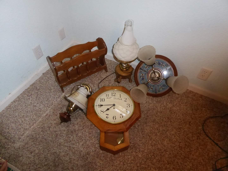 Lot # 216 - Wall Clock, Table Lamp & Lighting  (main image)