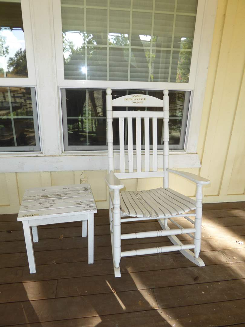 Lot # 231 - Cute White Rocking Chair & Small Wooden Table  (main image)