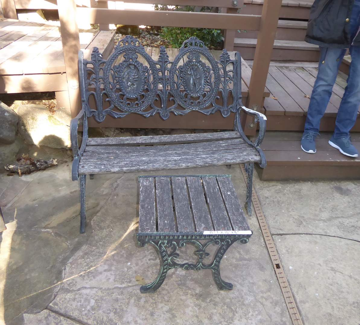 Lot # 234 - Heavy Cast Iron & Wood Bench With Small Side Table  (main image)