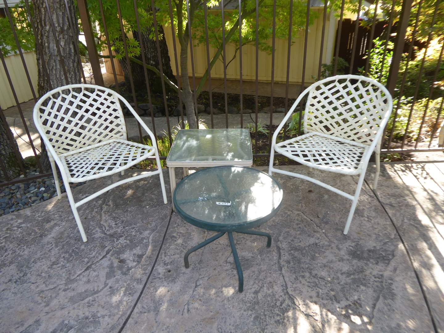 Lot # 237 - Two Patio Chairs & Two Small Outdoor Side Tables (main image)