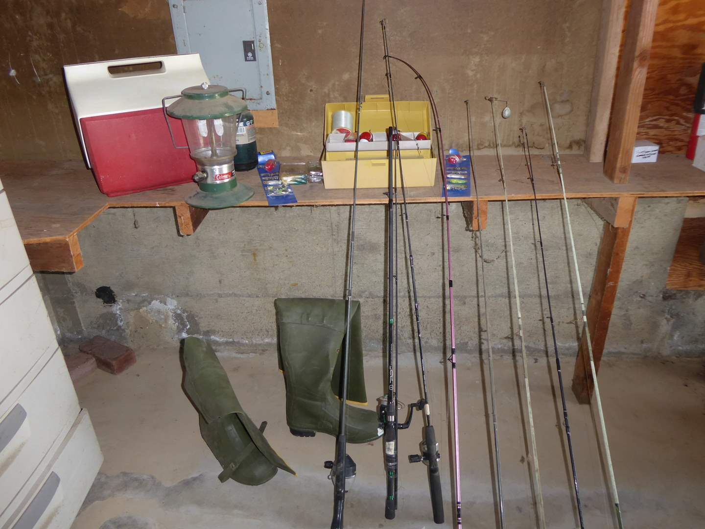 Lot # 242 - LaCrosse Hip Wader Boots, Fishing Poles & Reels & Other Fishing Gear  (main image)
