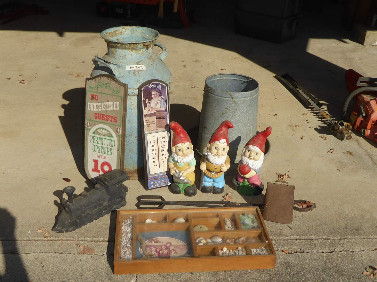 Lot # 247 - McColls Redding Milk Crate, Milk Jugs, Train Humidifier & Gnomes  (main image)