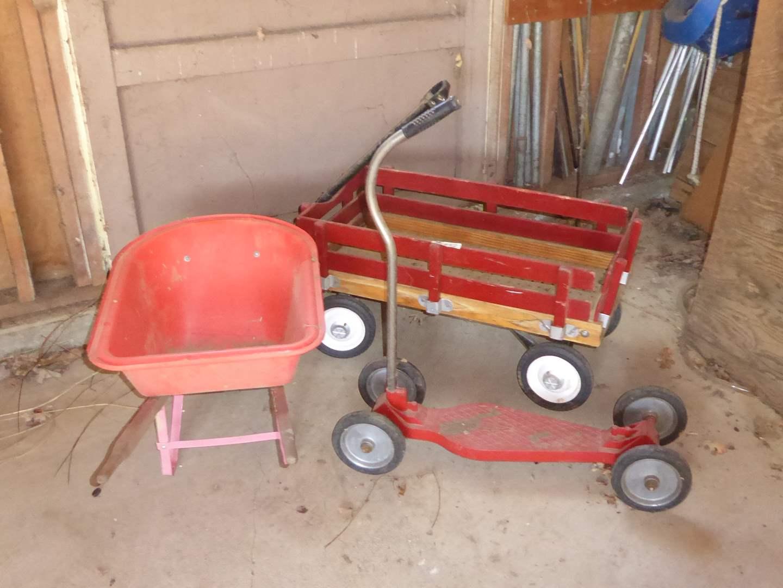 Lot # 252 - Kid's Plastic Wheelbarrow, Vintage Push Scooter & Wagon  (main image)