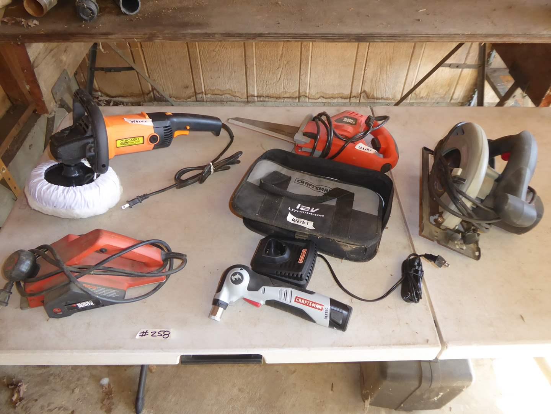 Lot # 258 - Craftsman Auto Hammer, Circular Saw, B&D Jig Saw & Chicago Buffer (main image)