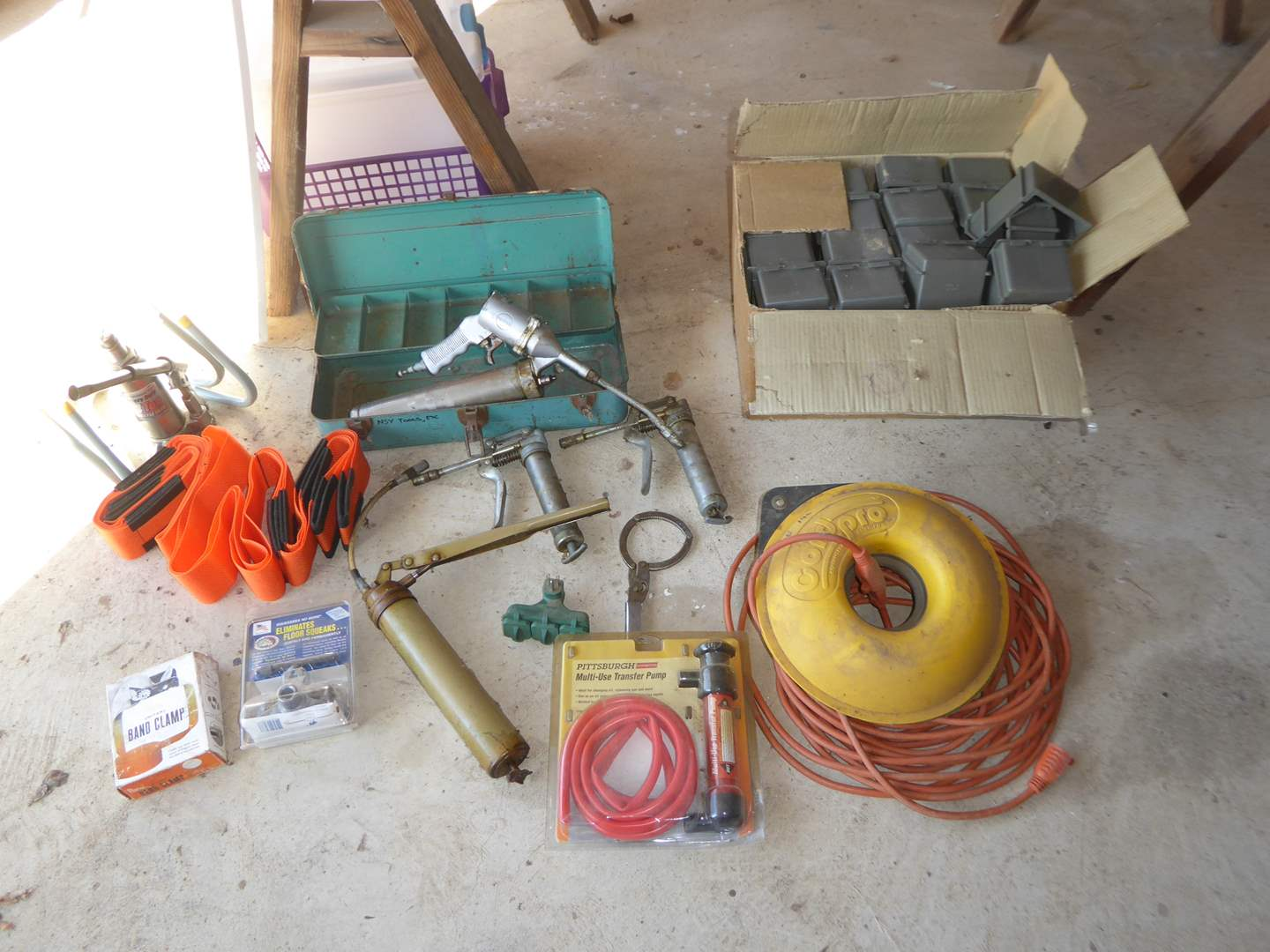 Lot # 260 - Grease Guns, Multi Use Transfer Pump, Extension Cord & Forearm Forklift  (main image)