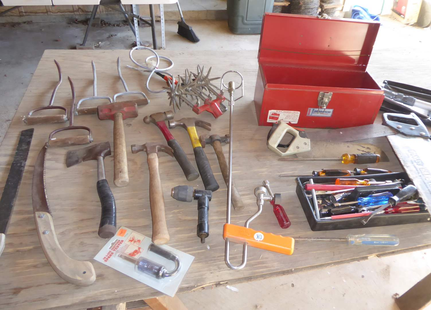 Lot # 261 - Pyramid Gold Series Regulated Power Supply, Hammers, Hay Hooks & Other Tools  (main image)