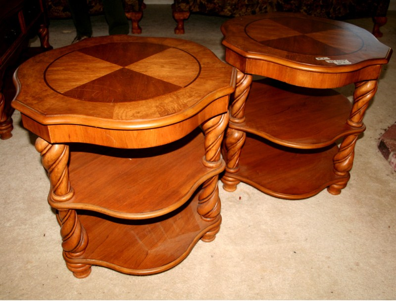 Lot #7 ~ Pair of Burl Wood End Tables with A Rustic Twist (main image)